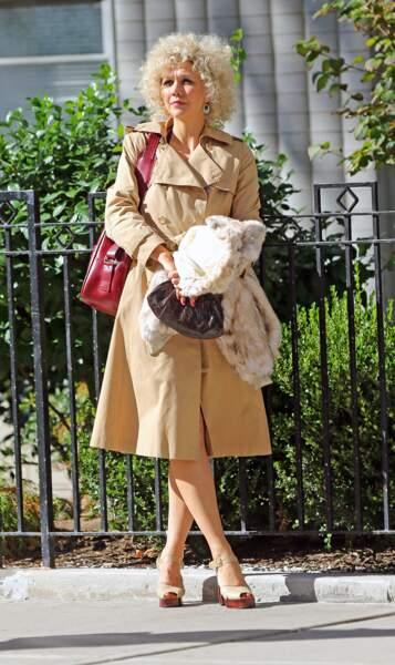 L'actrice Maggie Gyllenhaal sur le tournage de The Deuce à New York
