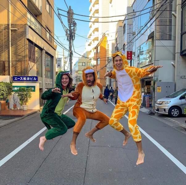Bob Sinclar et ses enfants Paloma et Raphaël, tout en discrétion à Tokyo.