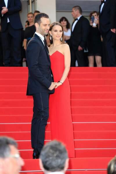 Natalie Portman et Benjamin Millepied lors de la cérémonie d'ouverture du Festival de Cannes 2015