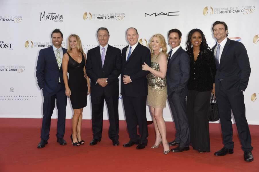 Les acteurs de Dallas avec le Prince Albert de Monaco !