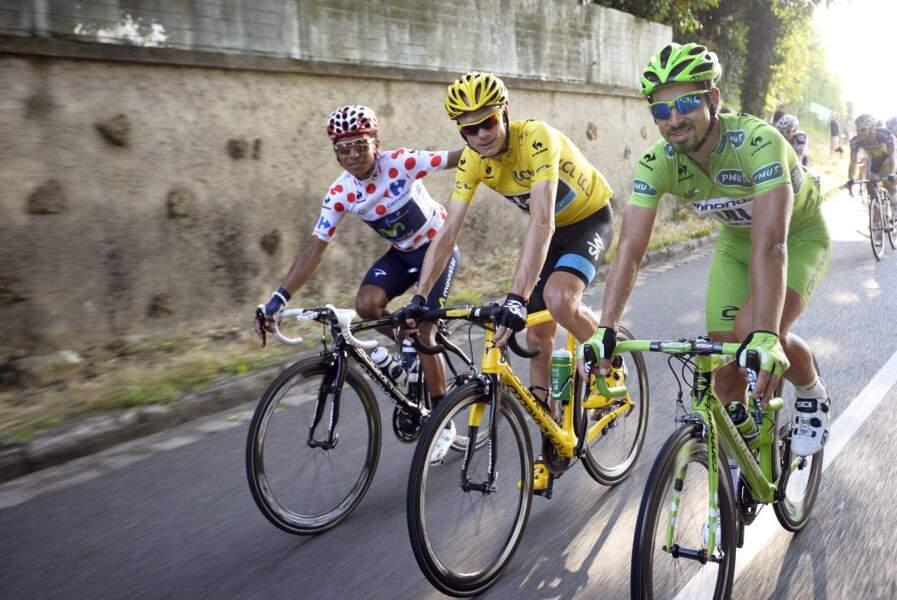 De g. à dr. : Quintana, Froome et Sagan