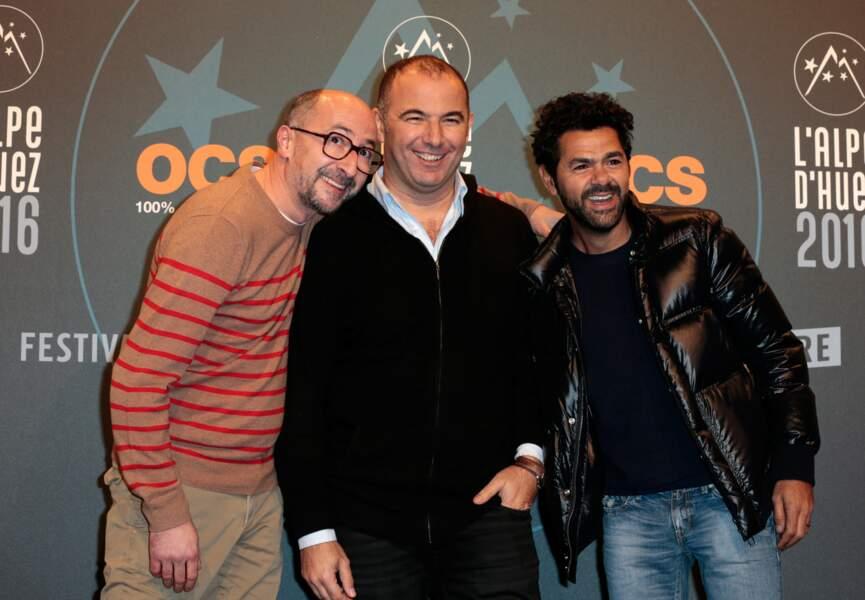 L'équipe du film La Vache, présenté en compétition au Festival : Fatsah Bouyamed, Mohamed Hamidi et Jamel Debbouze