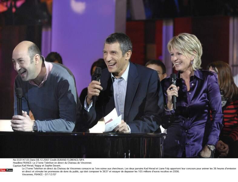 Avec Nagui et Kad Merad sur le plateau du Téléthon en 2007