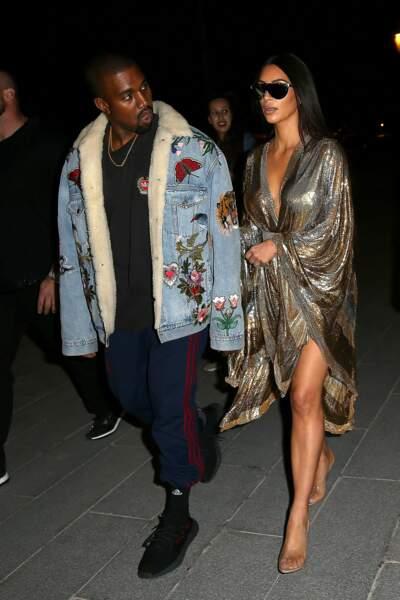 Kanye West et Kim lors de l'after party Balmain