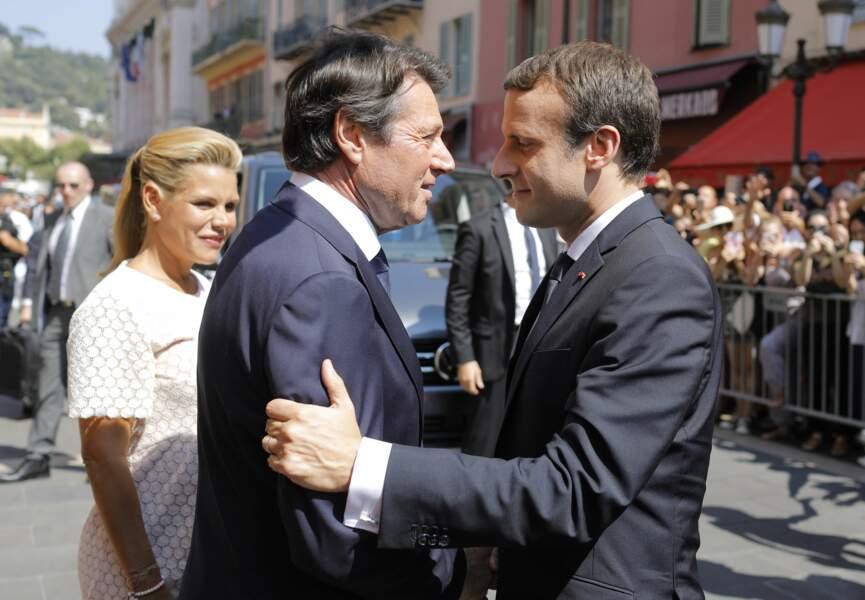 Laura Tenoudji, Christian Estrosi et Emmanuel Macron