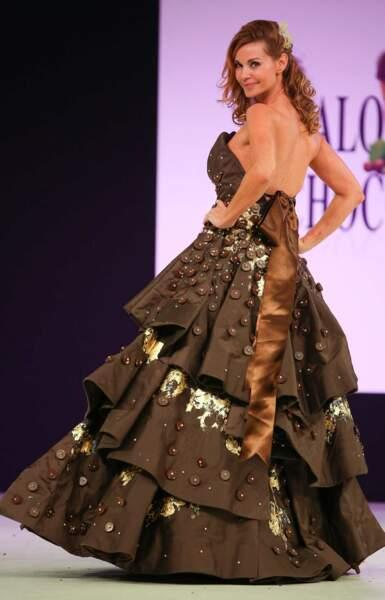 Ingrid Chauvin, dans une robe de princesse aux fèves de cacao