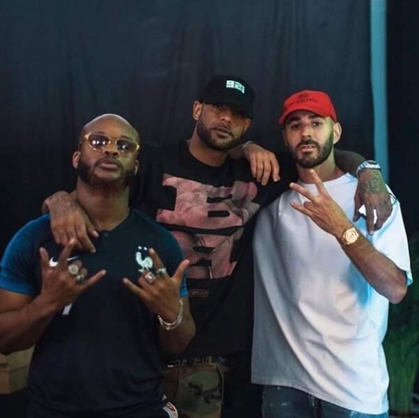 Booba, Karim Benzema et Dosseh posent au concert du DUC à Bercy
