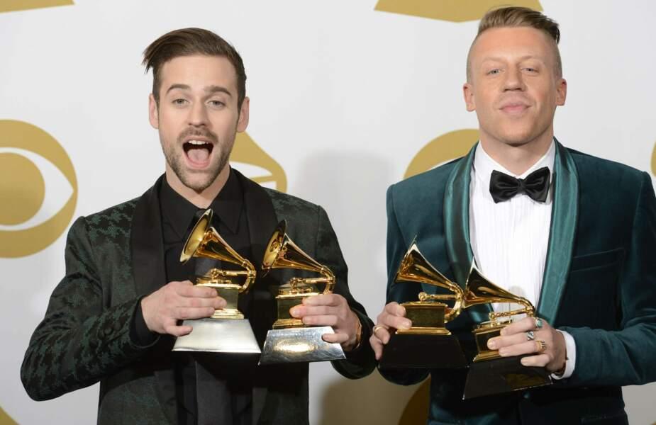 Macklemore et Ryan Lewis, qui ont décroché pas moins de quatre Grammy Awards ! Bien joué !