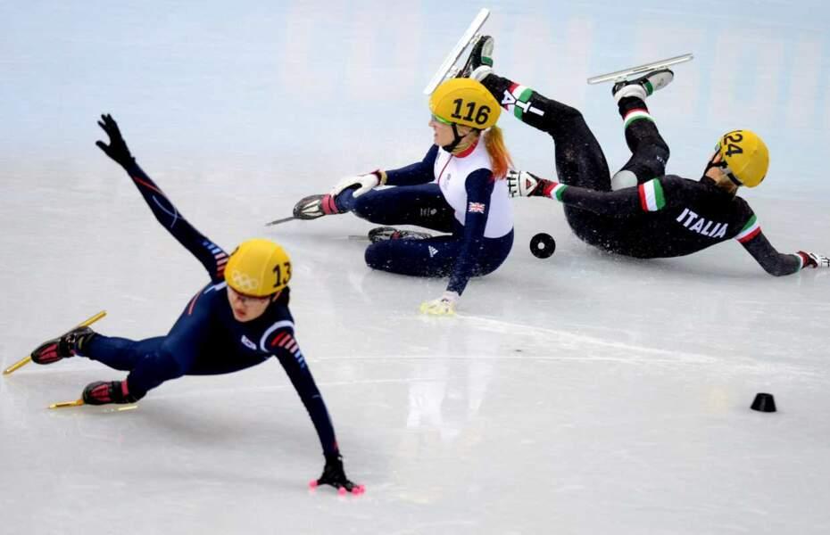 Et celle d'Elise Christie en short track, sport très prolifique en chute !