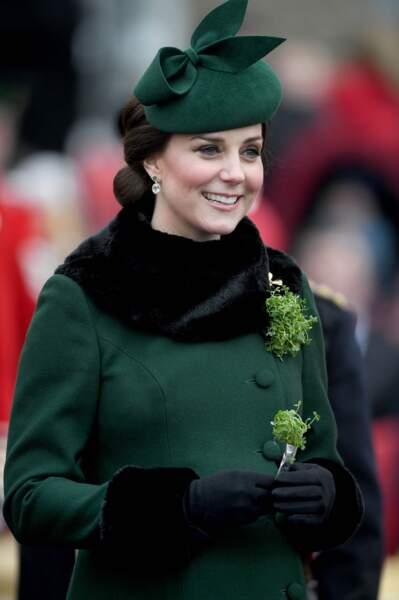 Kate Middleton avait sorti une superbe tenue vert sapin, pour rappeler la couleur du saint patron irlandais