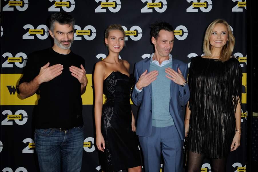 Francois Vincentelli, Adriana Cernanova et Adriana Karembeu lors de la soirée anniversaire des 20 ans de Wonderbra