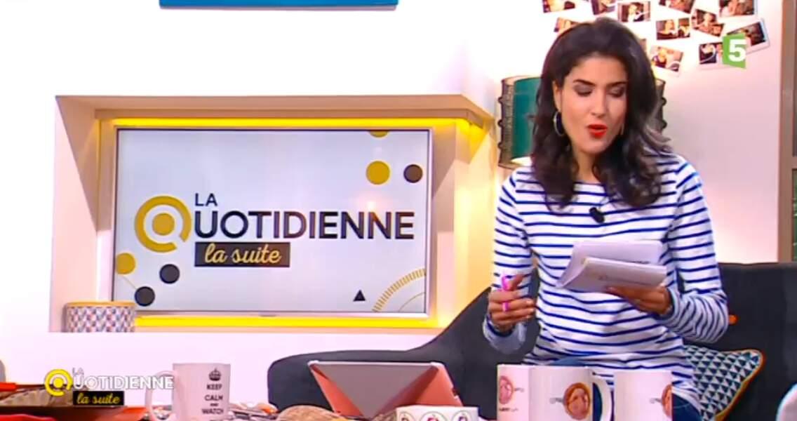 Farida, de La Quotidienne, la suite, a opté pour un petit look marin
