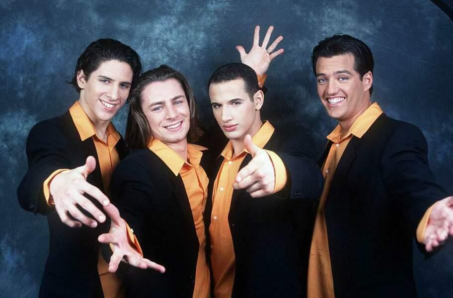 """Le groupe Alliage à l'origine du tube """"Baila"""" composé de Roman, Steven, Quentin et de Brian"""