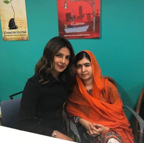 Moment privilégié pour Priyanka Chopra et Malala Yousafzai.