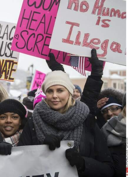 Parmi les manifestants du festival Sundance, on a vu Charlize Theron…
