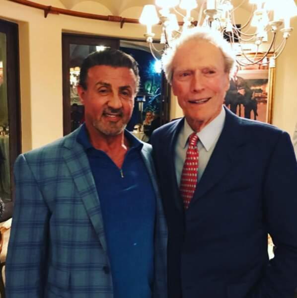 Clint Eastwood n'a pas regardé l'objectif sur ce cliché avec Sylvester Stallone.