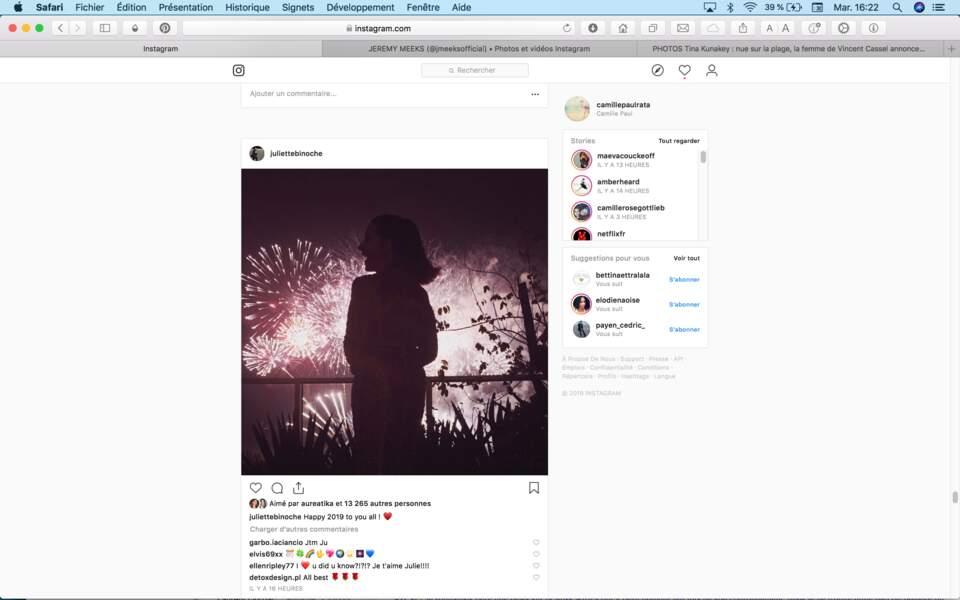 La photo partagée par Juliette Binoche pour ses vœux 2019