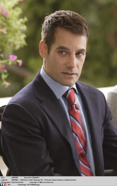Adrian Pasdar (Nathan Petrelli) dans la première saison de Heroes