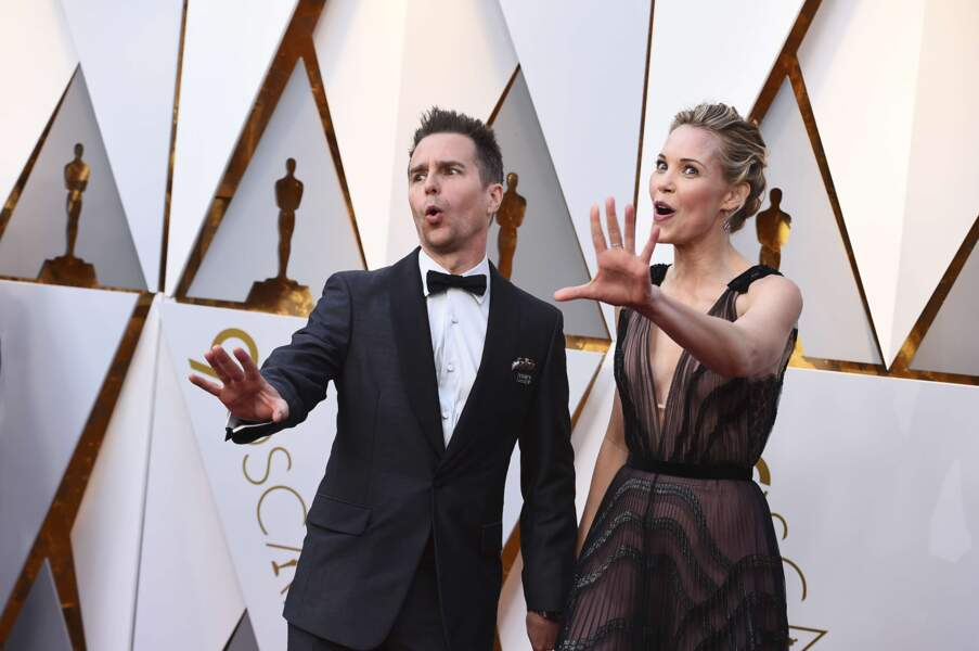 Sam Rockwell et sa compagne Leslie Bibb. Il a gagné l'Oscar du Meilleur second rôle et c'est mérité !