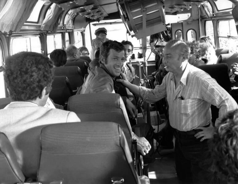 1969 : sur le tournage du film Le Cerveau, ici avec Gerard Oury