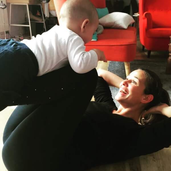 Opération remise en forme pour Lucie Lucas, sous les encouragements de son petit Milo