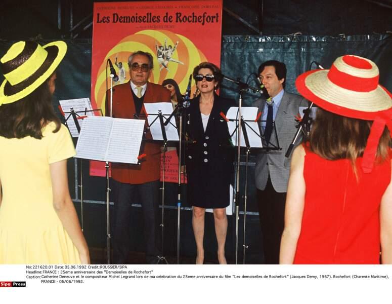 Catherine Deneuve et Michel Legrand réunis à Rochefort en 1992 pour fêter les 25 ans des Demoiselles de Rochefort