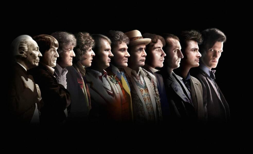 Un montage avec les onze premiers Doctor Who avant le douzième Peter Capaldi (seul absent sur la photo)