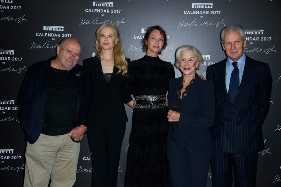 Le photographe Peter Lindbergh et les actrices Nicole Kidman, Uma Thurman et Helen Mirren