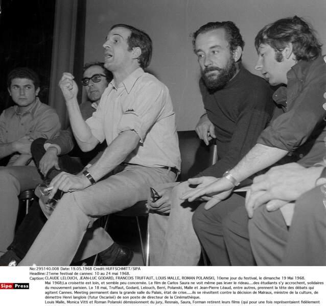 Truffaut, Godard, Polanski, Malle organisent la révolte en mai 1968. Le festival est interrompu.