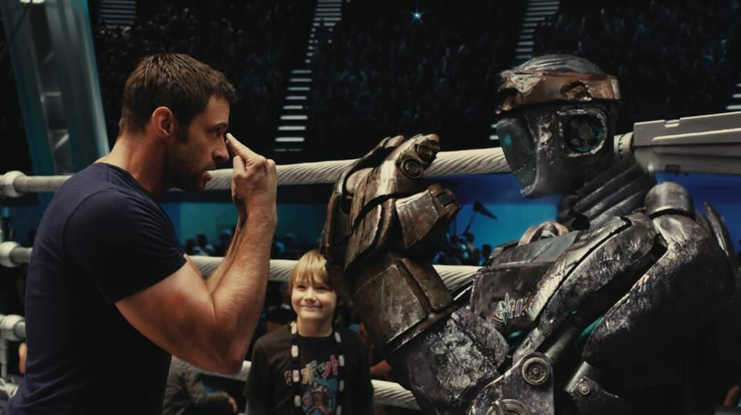 Le beau Hugh Jackman et son robot boxeur dans Real Steel