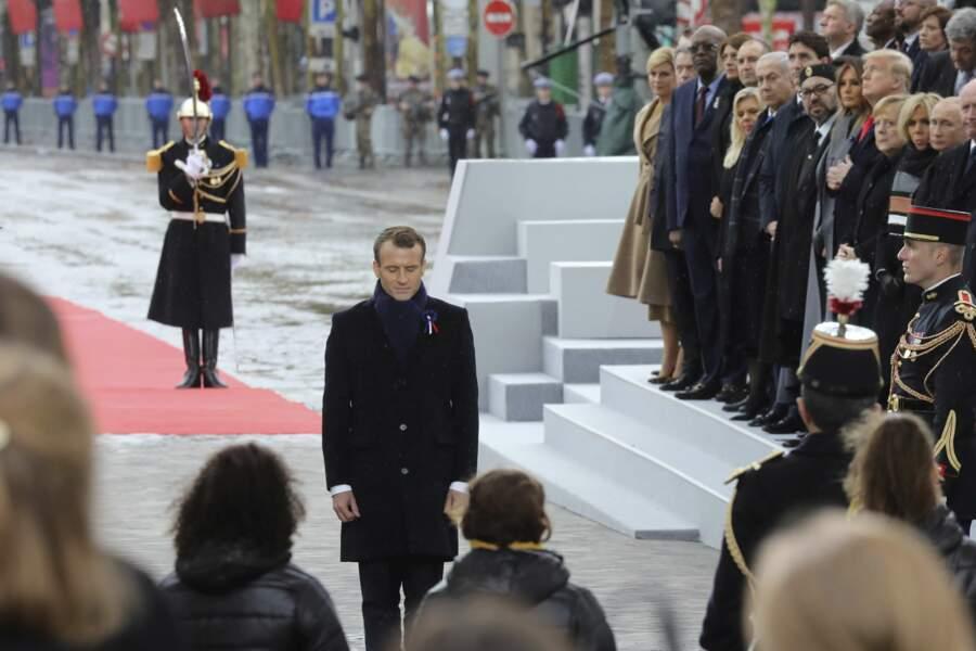 Le président Emmanuel Macron lors de la commémoration du 11 novembre sous l'Arc de Triomphe