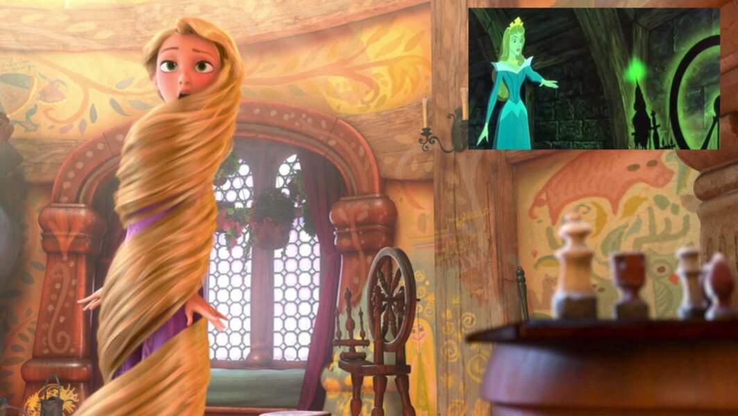 Raiponce : le rouet qui endort La Belle au bois dormant se trouve dans la tour de Raiponce