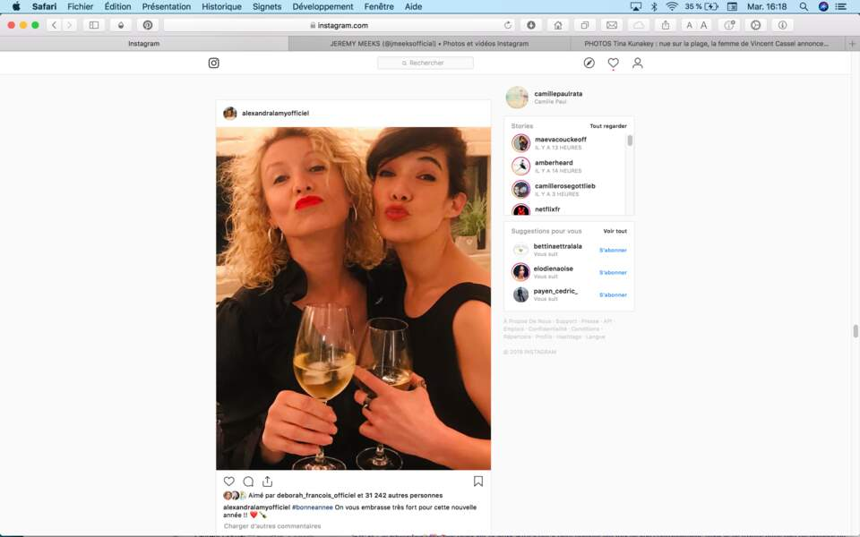 Alexandra Lamy et Mélanie Doutey ont passé Nouvel An ensemble
