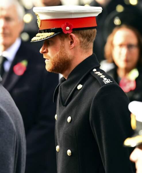 Le prince Harry lors de la commémoration du 11 novembre au mémorial de Whitehall, à Londres