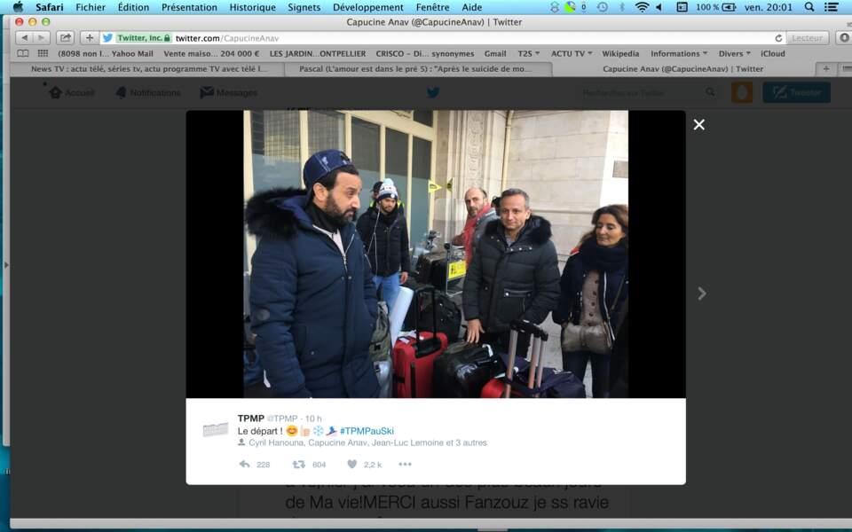 C'est parti pour TPMP part au ski : Cyril Hanouna et sa bande à la gare de Lyon