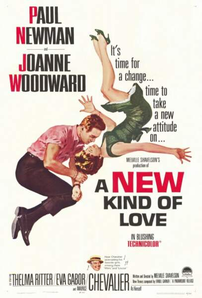 "Affiche du film ""A New Kind of Love"" avec Paul Newman et Joanne Woodward, sorti en 1963"