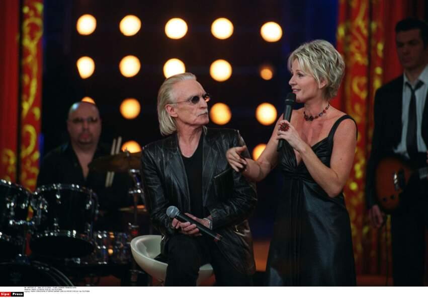 Avec le chanteur Christophe sur le plateau du Téléthon en 2002