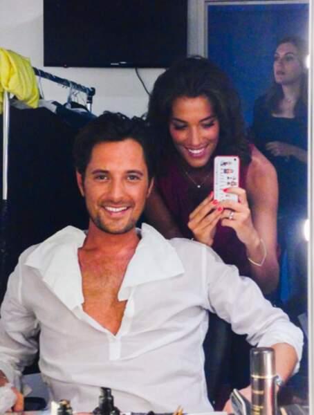 Vincent Cerutti et la belle Laurie Cholewa en plein maquillage...