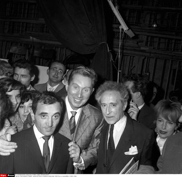 En récital avec Charles Trénet et Jean Cocteau à L'Alhambra à Paris en 1960