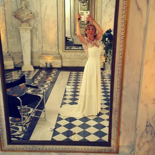 Wow ! Mais qui est cette sublime mariée ? Marilou Berry sur le tournage du film Sous le même toit