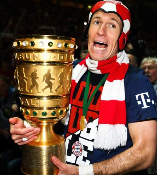 D'autres gens heureux ? Les joueurs du Bayern, à l'image d'Arjen Robben !