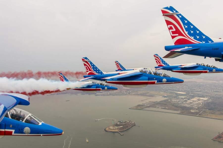 Les huit Alpha Jets étaient redecorés aux couleurs américaines pour l'occasion