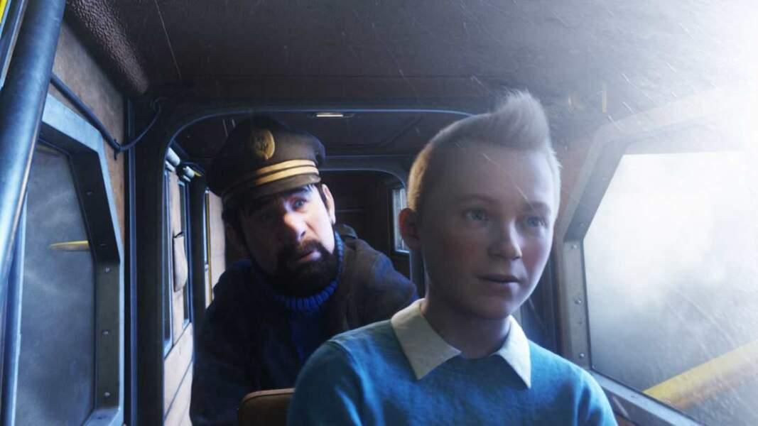 2011 : voici le Tintin de Steven Spielberg ! Au deuxième plan, le capitaine Haddock...