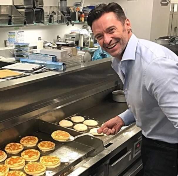 Hugh Jackman est le pro des pancakes.