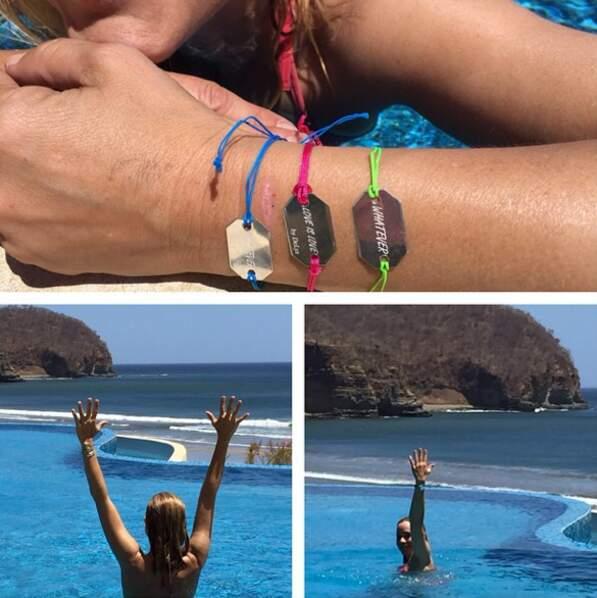 """En vacances, Maria Bello se jette à l'eau… et n'oublie pas de faire la promo de son livre """"Whatever… Love is love"""""""