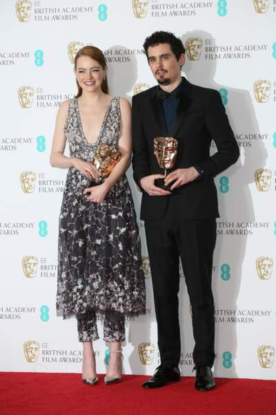 Emma Stone, récompensée, a assistée à la Cérémonie des Bafta avec Damien Chazelle, réalisateur de La La Land
