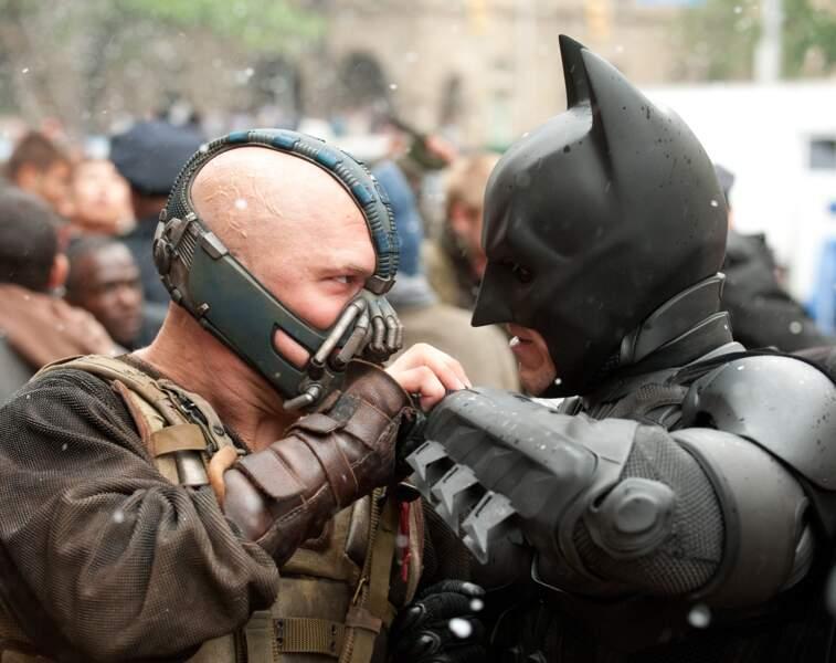 Batman (toujours incarné par Christian Bale) face à Bane dans The Dark Knight rises (2012)