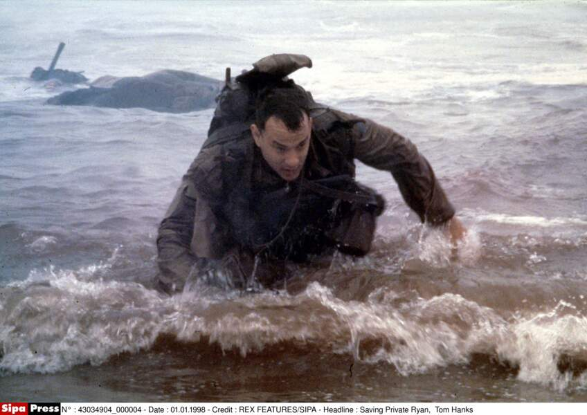 Le Capitaine John H. Miller (Tom Hanks) en plein débarquement dans Il faut sauver le soldat Ryan (1998)