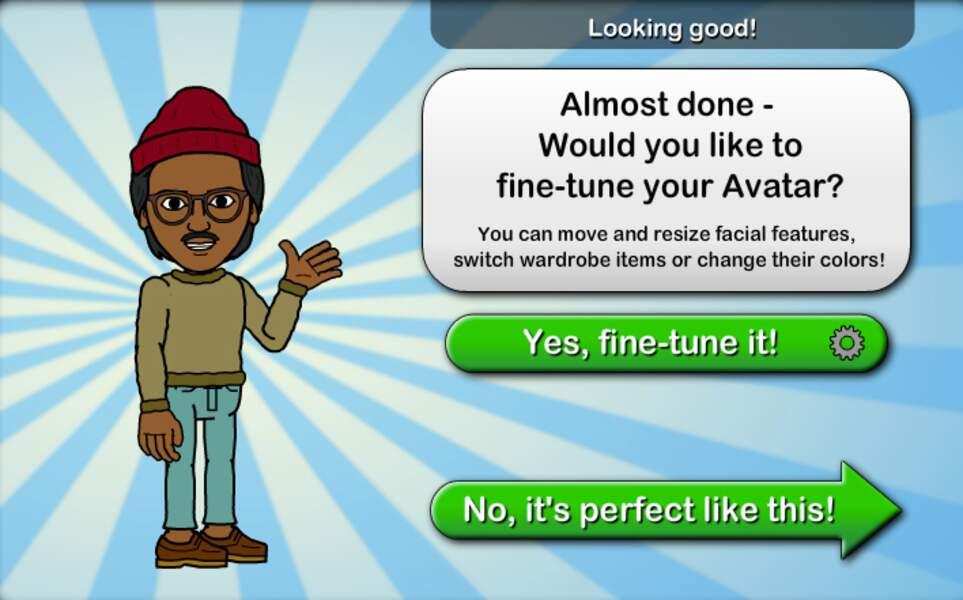Une fois votre avatar terminé, vous pouvez vous lancer