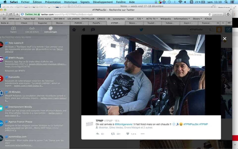 Après le TGV, le bus. Mokhtar et Gilles Verdez découvrent la neige qui tombe à Montgenèvre